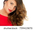 beautiful woman with curled...   Shutterstock . vector #759415870