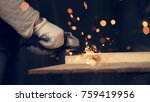 man cut down the pin in wooden... | Shutterstock . vector #759419956