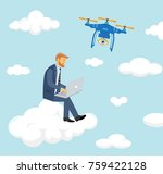 businessman sit on the cloud... | Shutterstock .eps vector #759422128