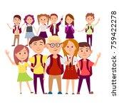 joint snapshot of classmates 11 ... | Shutterstock . vector #759422278