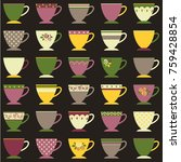collection of decorated tea or... | Shutterstock .eps vector #759428854