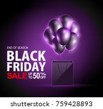 black friday sale neon with bag ... | Shutterstock .eps vector #759428893