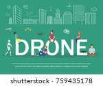 drone illustration of young... | Shutterstock . vector #759435178