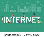 flat design of people addicted... | Shutterstock . vector #759435229