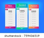 vector pricing table design  | Shutterstock .eps vector #759436519