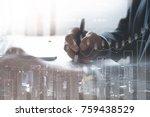 business man analysis on...   Shutterstock . vector #759438529