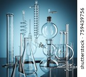 glass chemistry lab equipment.... | Shutterstock . vector #759439756