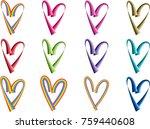 heart shape vector design set | Shutterstock .eps vector #759440608