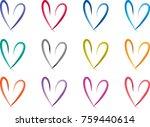 heart shape vector design set | Shutterstock .eps vector #759440614