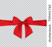 realistic red bow and ribbon... | Shutterstock .eps vector #759441760