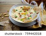 corn chowder soup with bacon.... | Shutterstock . vector #759442018
