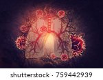 virus and bacteria infected the ... | Shutterstock . vector #759442939