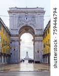 the rua augusta arch in lisbon  ... | Shutterstock . vector #759446794
