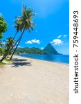 paradise beach at soufriere bay ... | Shutterstock . vector #759448693