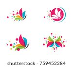 beauty butterfly logo template... | Shutterstock .eps vector #759452284