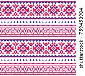 seamless folk art pattern ...   Shutterstock .eps vector #759453904