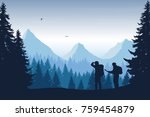 Vector illustration of a mountain landscape with a forest and two tourists, man and woman with backpacks showing his hand and looking into the distance under a blue sky - stock vector