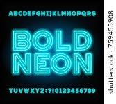 blue neon tube alphabet font.... | Shutterstock .eps vector #759455908