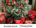 pile of  christmas gifts close... | Shutterstock . vector #759462904