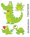 set of cute green animals for...   Shutterstock .eps vector #759473059