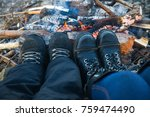 travelers hiking boots near the ... | Shutterstock . vector #759474490