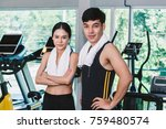 sport man and woman with towel... | Shutterstock . vector #759480574