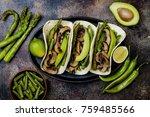 grilled portobello  asparagus ... | Shutterstock . vector #759485566