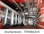 equipment  cables and piping as ... | Shutterstock . vector #759486214