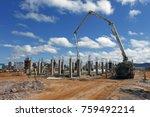industrial building  foundation ... | Shutterstock . vector #759492214