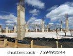 industrial building  foundation ... | Shutterstock . vector #759492244
