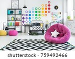 white star pillow on pink pouf... | Shutterstock . vector #759492466