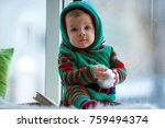 little boy in red and green...   Shutterstock . vector #759494374