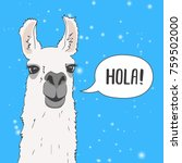 funny lama alpaca portrait with ... | Shutterstock .eps vector #759502000