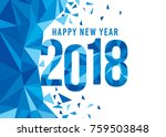 happy new year 2018.  blue... | Shutterstock .eps vector #759503848