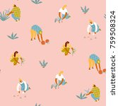 gardening seamless pattern.... | Shutterstock .eps vector #759508324