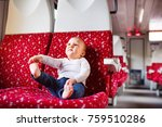 cute baby boy travelling by... | Shutterstock . vector #759510286