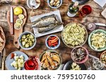 dining table with a variety of... | Shutterstock . vector #759510760