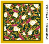 colorful silk scarf with... | Shutterstock .eps vector #759518566