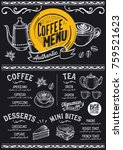 coffee drink menu for... | Shutterstock .eps vector #759521623