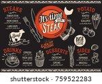 steak menu for restaurant and... | Shutterstock .eps vector #759522283