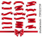 red ribbon and bow set  | Shutterstock . vector #759523759
