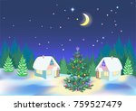 new year night. small houses in ...   Shutterstock . vector #759527479