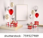 interior mock up scene with red ... | Shutterstock . vector #759527989