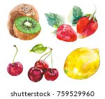 watercolor painted collection... | Shutterstock . vector #759529960