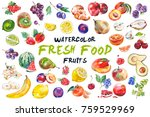 watercolor painted collection... | Shutterstock . vector #759529969