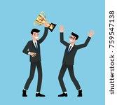 businessman holding number one... | Shutterstock .eps vector #759547138