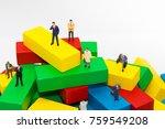 businessman standing on wooden... | Shutterstock . vector #759549208