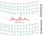 colorful christmas lights with... | Shutterstock .eps vector #759550123