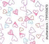 pink hearts seamless pattern.... | Shutterstock .eps vector #759550870