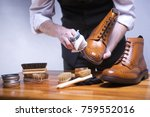 the process of cleaning shoes....   Shutterstock . vector #759552016